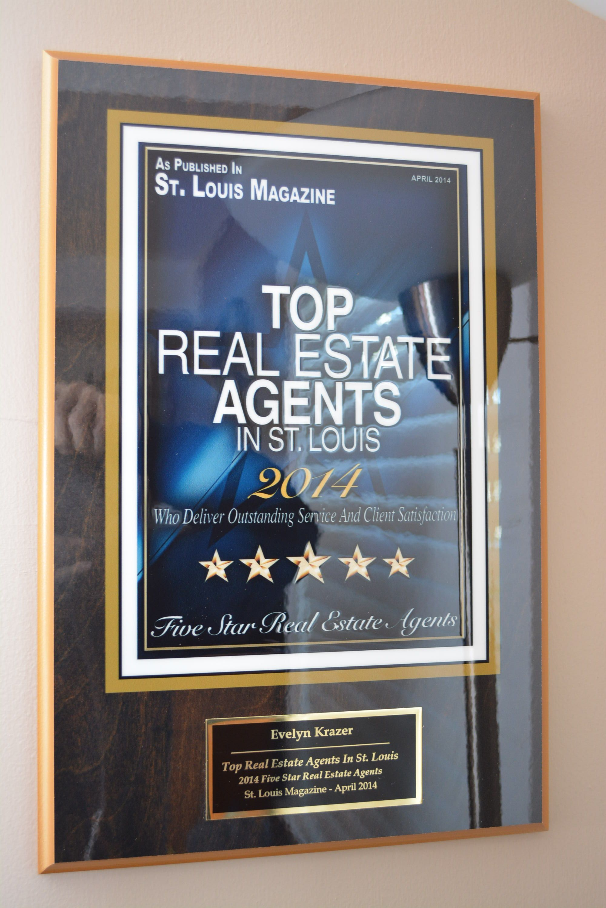 5 Star Real Estate Agent Plaque