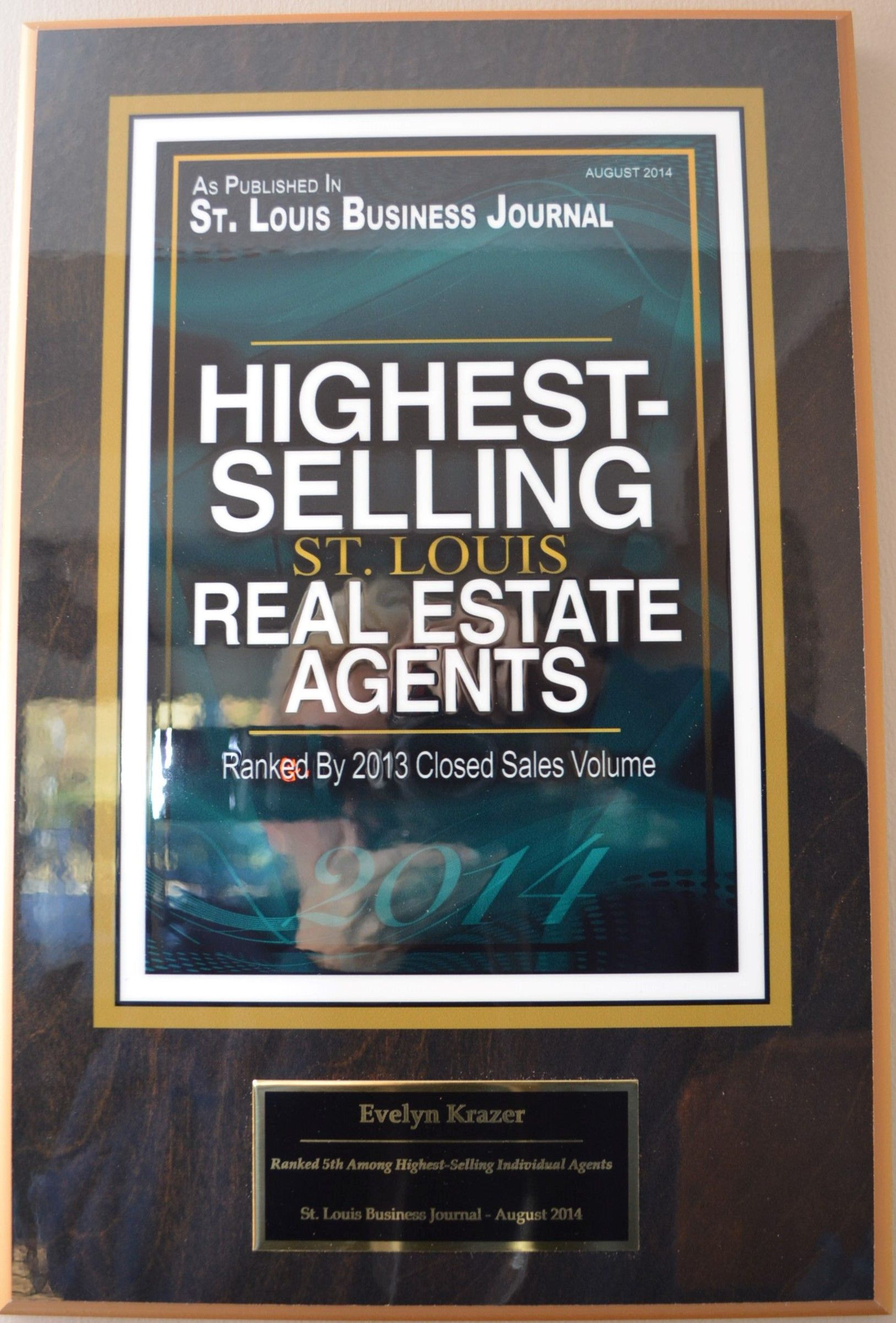 5th Highest Selling Agent Plaque